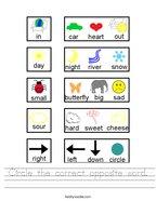 Circle the correct opposite word Handwriting Sheet