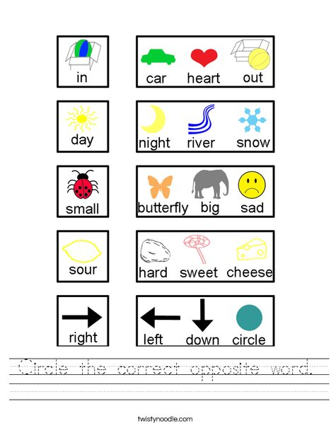 Circle the correct opposite word. Worksheet