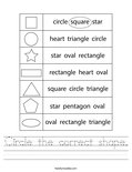 Circle the correct shape. Worksheet