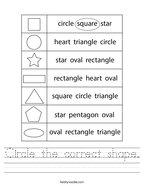 Circle the correct shape Handwriting Sheet