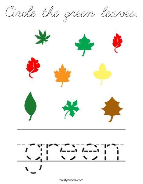 Circle the green leaves. Coloring Page