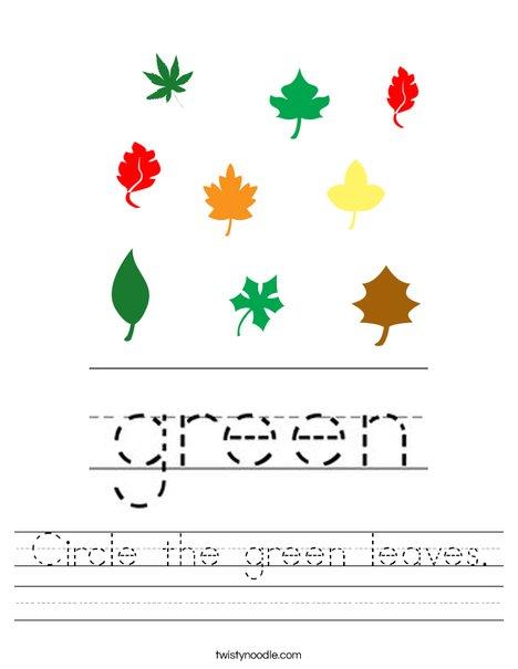 Circle the green leaves. Worksheet