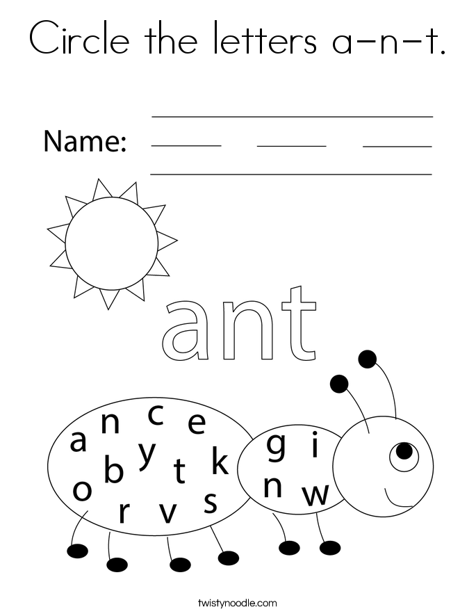 Circle the letters a-n-t. Coloring Page