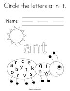 Circle the letters a-n-t Coloring Page