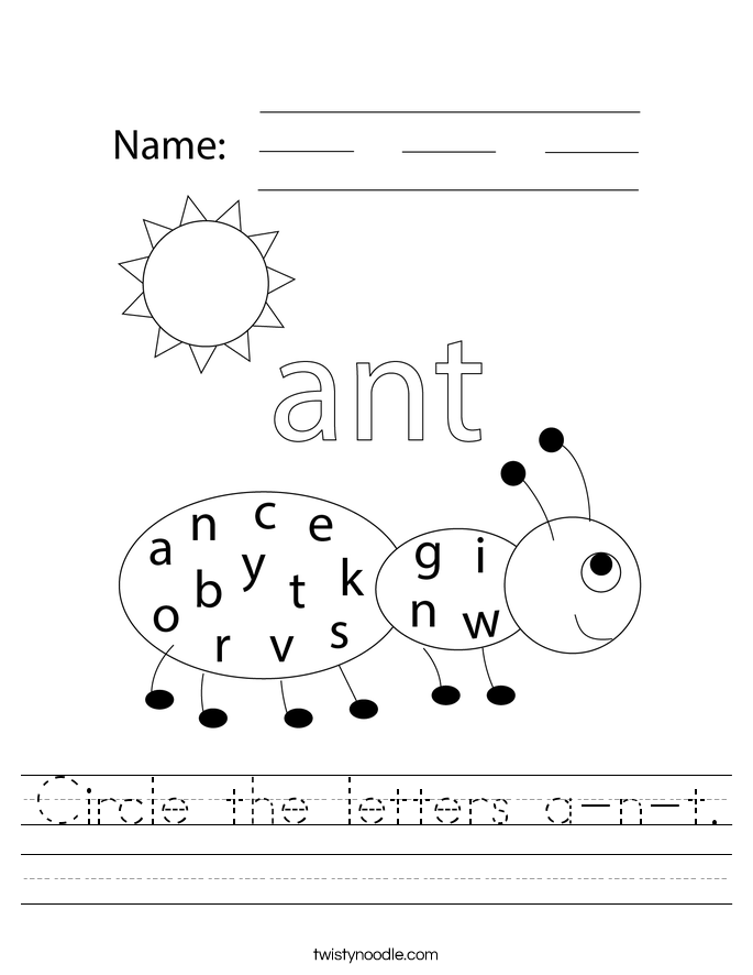 Circle the letters a-n-t. Worksheet