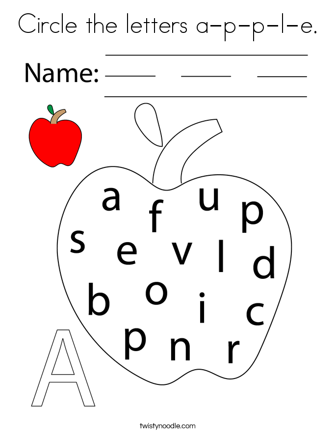 Circle the letters a-p-p-l-e. Coloring Page