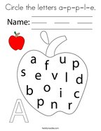 Circle the letters a-p-p-l-e Coloring Page