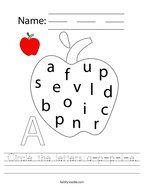 Circle the letters a-p-p-l-e Handwriting Sheet