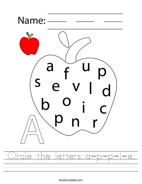Circle the letters a-p-p-le. Worksheet