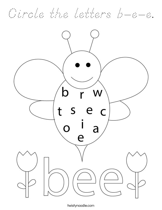 Circle the letters b-e-e. Coloring Page