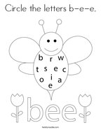 Circle the letters b-e-e Coloring Page
