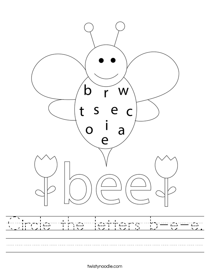 Circle the letters b-e-e. Worksheet