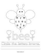 Circle the letters b-e-e Handwriting Sheet