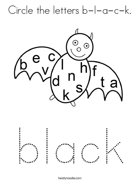 Circle the letters b-l-a-c-k. Coloring Page