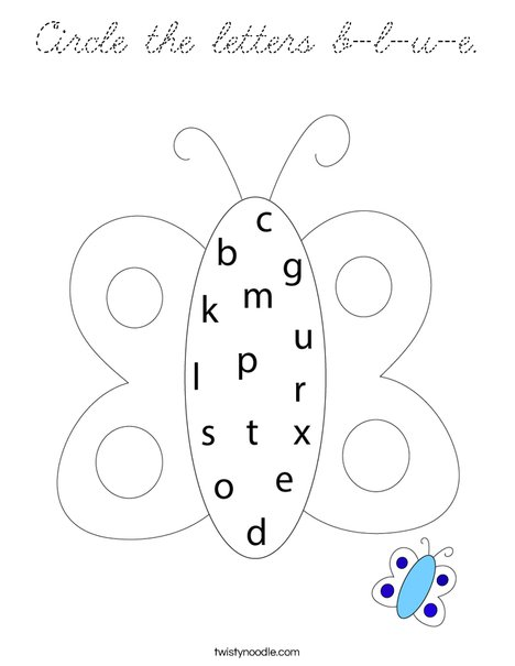Circle the letters b-l-u-e. Coloring Page