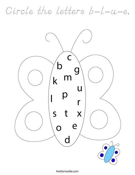 Circle the letters b-l-u-e. Coloring Page