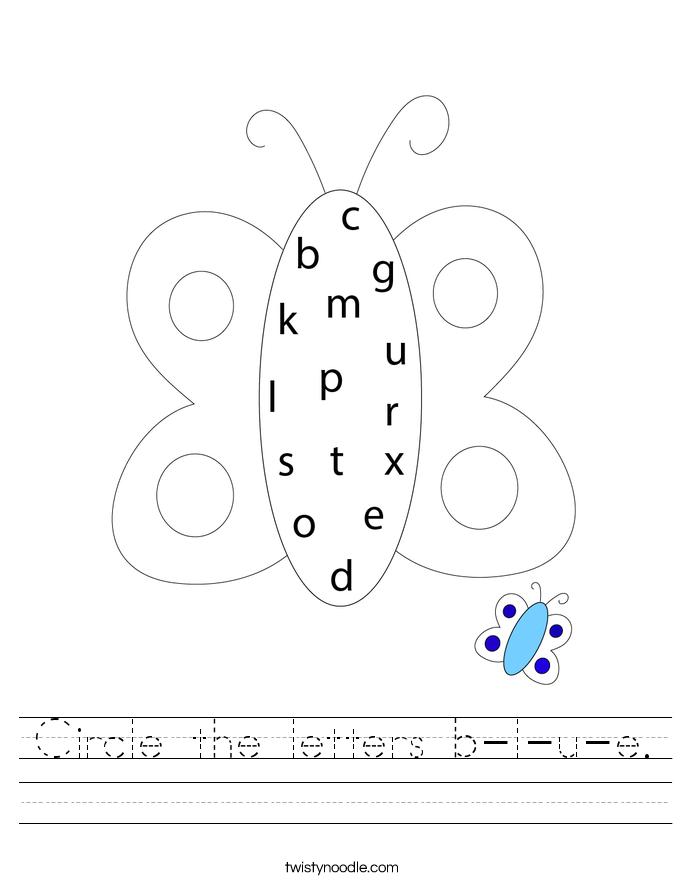 Circle the letters b-l-u-e. Worksheet