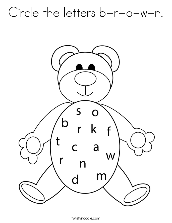 Circle the letters b-r-o-w-n. Coloring Page