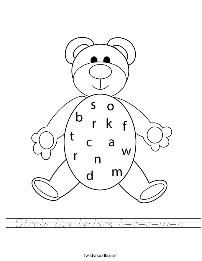 Circle the letters b-r-o-w-n. Worksheet