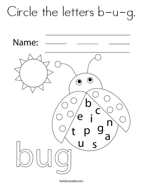 Circle the letters b-u-g. Coloring Page