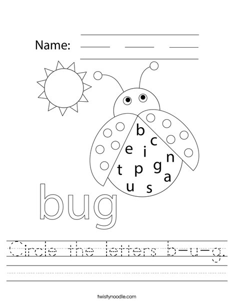 Circle the letters b-u-g. Worksheet
