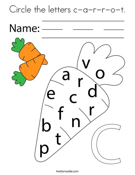 Circle the letters c-a-r-r-o-t. Coloring Page