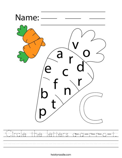 Circle the letters c-a-r-r-o-t. Worksheet