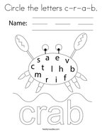 Circle the letters c-r-a-b Coloring Page
