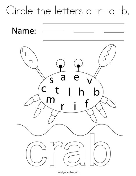 Circle the letters c-r-a-b. Coloring Page
