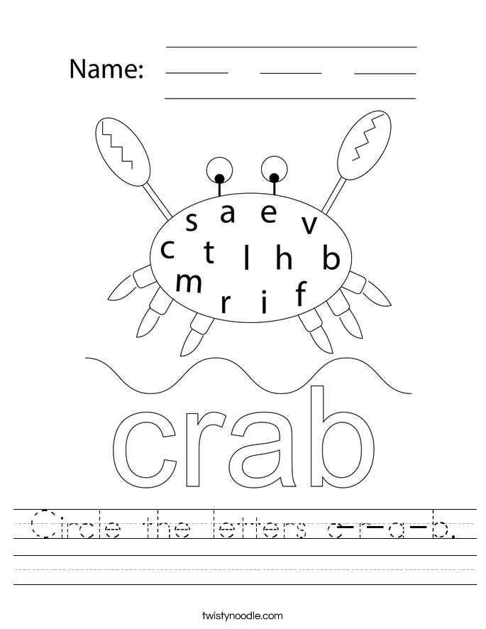 Circle the letters c-r-a-b. Worksheet