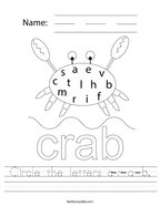 Circle the letters c-r-a-b Handwriting Sheet
