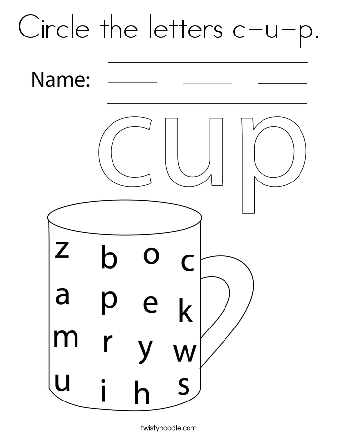 Circle the letters c-u-p. Coloring Page