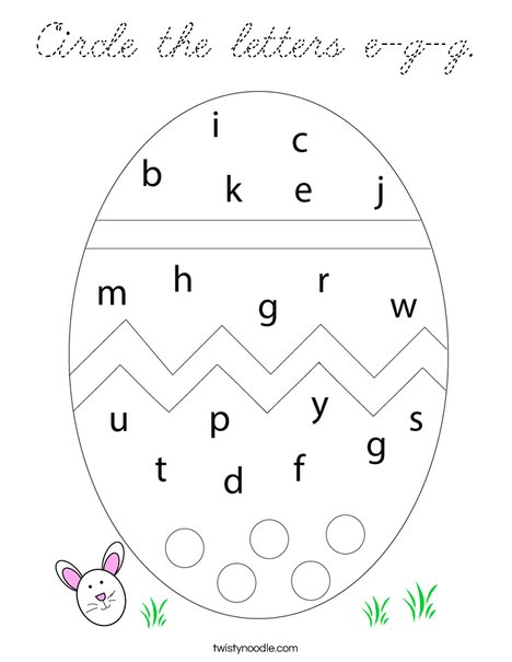 Circle the letters e-g-g. Coloring Page