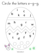 Circle the letters e-g-g Coloring Page