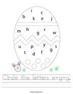 Circle the letters e-g-g Handwriting Sheet