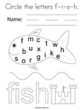 Circle the letters f-i-s-h. Coloring Page