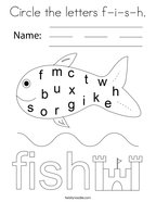 Circle the letters f-i-s-h Coloring Page