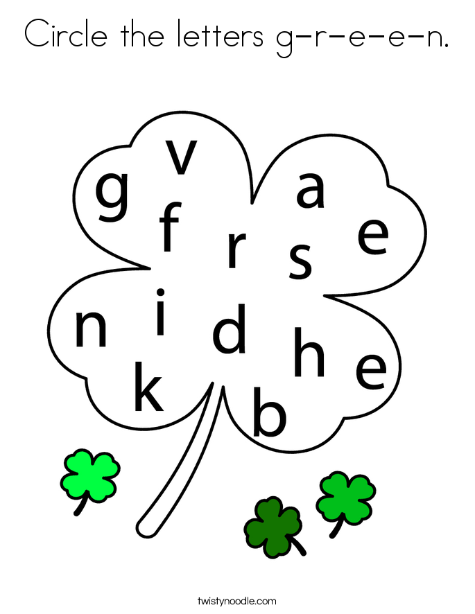 Circle the letters g-r-e-e-n. Coloring Page