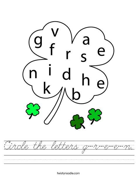 Circle the letters g-r-e-e-n Worksheet