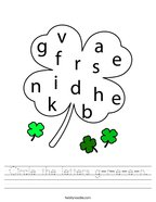 Circle the letters g-r-e-e-n Handwriting Sheet