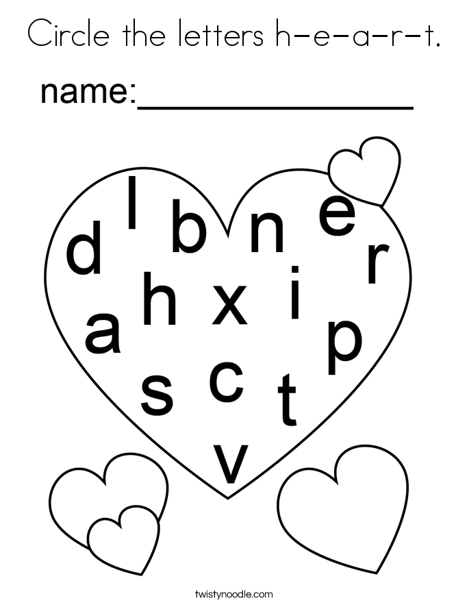 Circle the letters h-e-a-r-t. Coloring Page