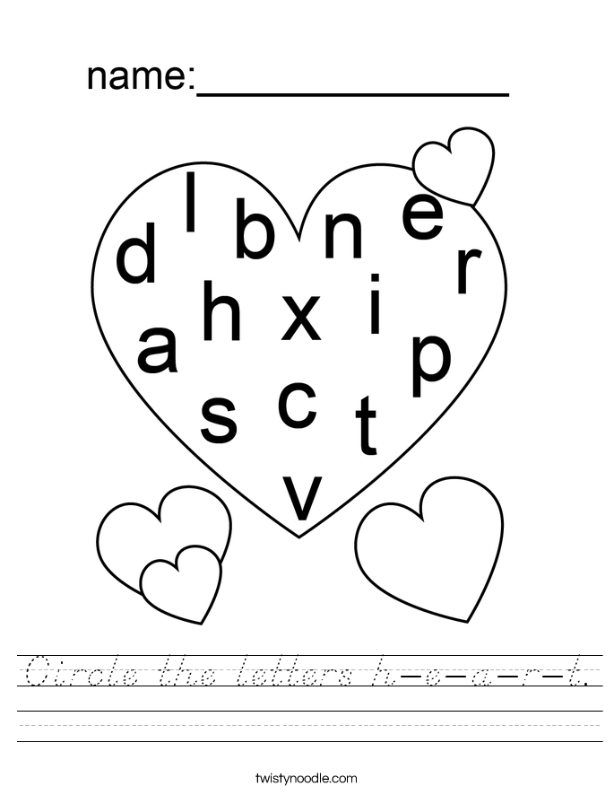 Circle the letters h-e-a-r-t. Worksheet