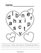 Circle the letters h-e-a-r-t Handwriting Sheet