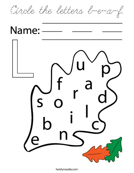 Circle the letters l-e-a-f. Coloring Page