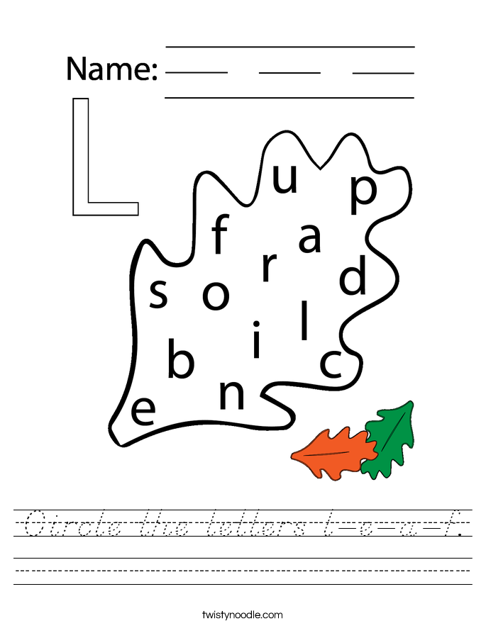 Circle the letters l-e-a-f. Worksheet