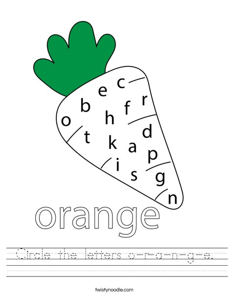 Circle the letters o-r-a-n-g-e. Worksheet