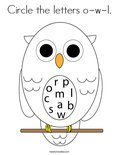 Circle the letters o-w-l. Coloring Page