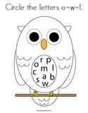 Circle the letters o-w-l Coloring Page