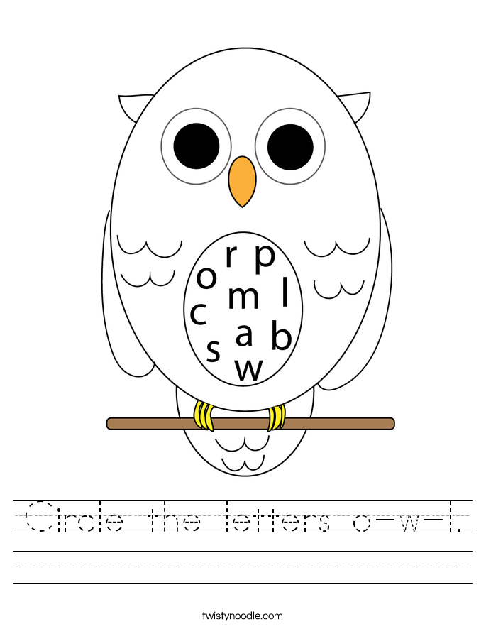 Circle the letters o-w-l. Worksheet