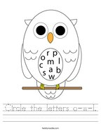Circle the letters o-w-l Handwriting Sheet